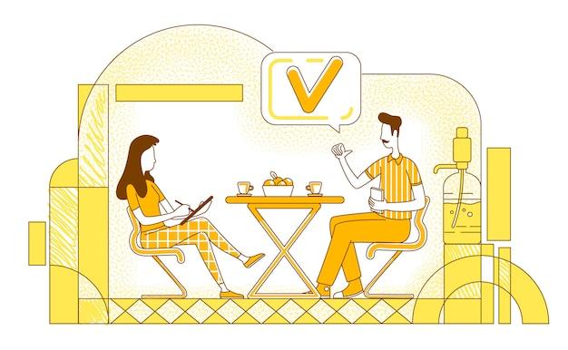 Succesvolle sollicitatiegesprek platte silhouet illustratie. hr-manager en kandidaat schetsen tekens op gele achtergrond. zakelijke bijeenkomst, onderhandeling over werkgelegenheid eenvoudige stijl tekening