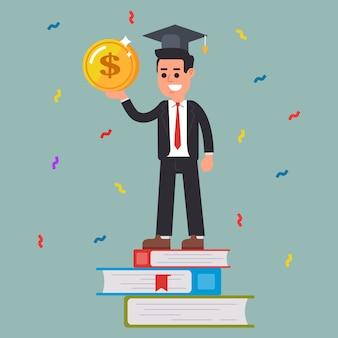 Succesvolle student met een munt in zijn handen.