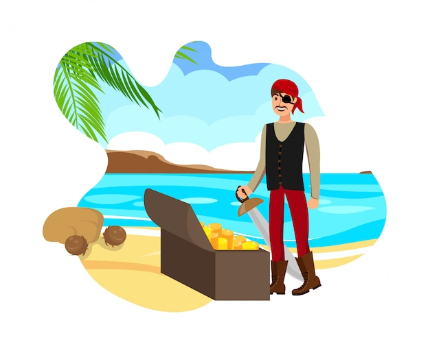 Succesvolle treasure hunt flat color illustration