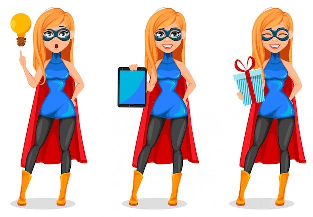 Succesvolle vrouw superheld kostuum dragen