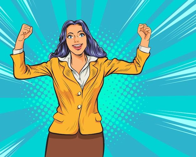 Succesvolle vrouwelijke zakenvrouw retro-stijl pop art. werkende vrouw hand omhoog popart retro comic