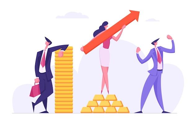 Succesvolle zakelijke teampersonages met geld, contant geld en pijlsymbool