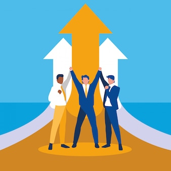 Succesvolle zakenlieden vieren met pijlen omhoog