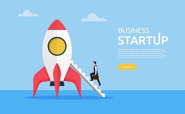 Succesvolle zakenman die een trap op raket beklimt. business opstarten concept illustratie.