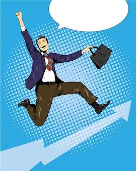 Succesvolle zakenman die met koffer springt
