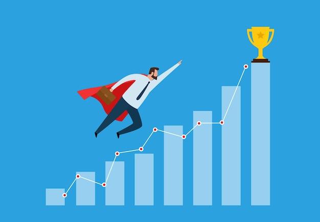 Succesvolle zakenman die naar succes vliegt en prijstrofeeën ontvangt