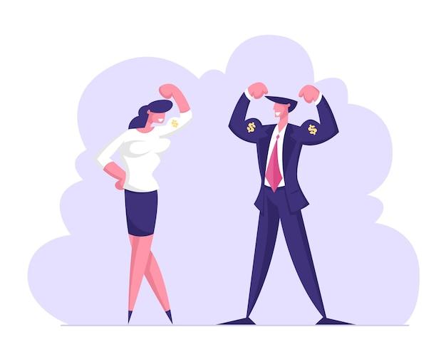 Succesvolle zakenman en zakenvrouw poseren en demonstreren spieren en kracht