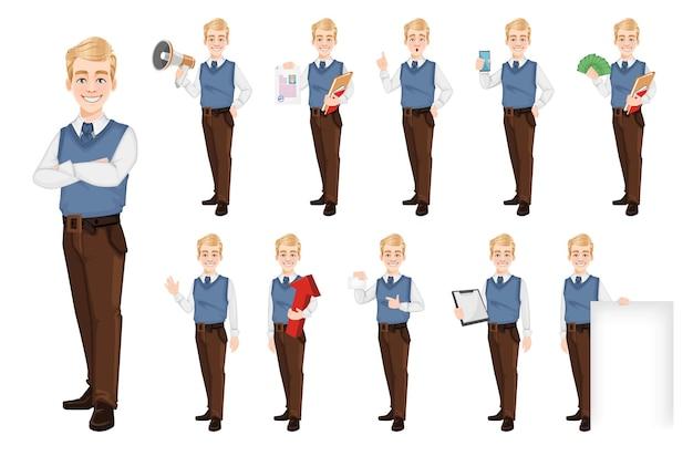 Succesvolle zakenman in office-stijl kleding set van elf poses