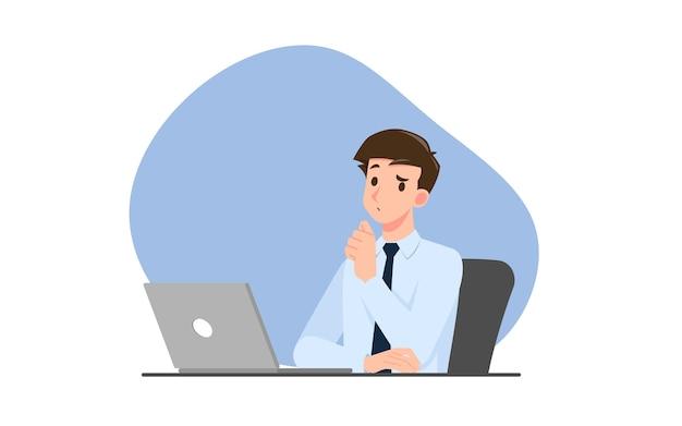 Succesvolle zakenman karakter denken. denkende zakenmensen tijdens het werk met een personal computerlaptop. werken concept vector illustratie ontwerp.