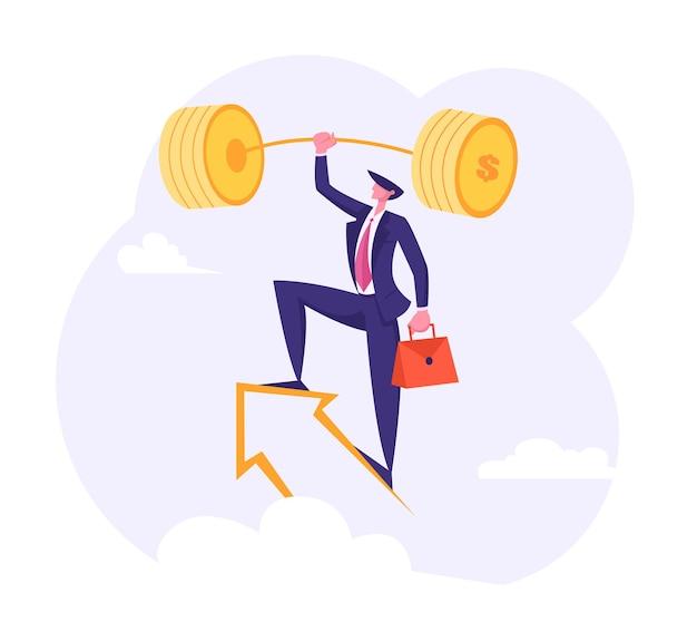 Succesvolle zakenman met gouden halter op de pijl in de lucht-afbeelding