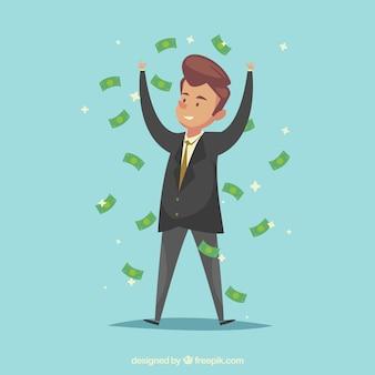 Succesvolle zakenman met rekeningen