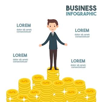 Succesvolle zakenman met veel geldcartoon