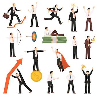 Succesvolle zakenman plat pictogrammen collectie