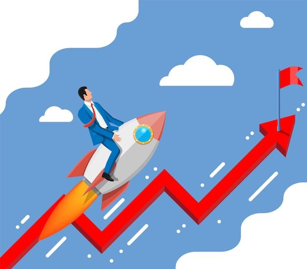 Succesvolle zakenman vliegen op raket op grafiek omhoog naar vlag. zakenman op vliegend ruimteschip. nieuw bedrijf of opstarten. idee, groeien, succes, start-up strategie. platte vectorillustratie