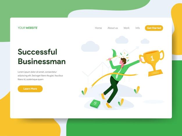 Succesvolle zakenman voor website-pagina