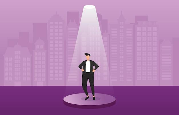 Succesvolle zakenman zeker op podium onder spotlight bedrijfsconcept