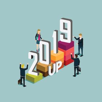 Succesvolle zakenmensen in het jaar 2019