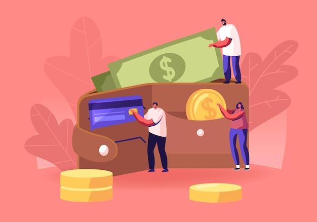 Succesvolle zakenmensen stoppen geld in enorme portemonnee. cartoon vlakke afbeelding