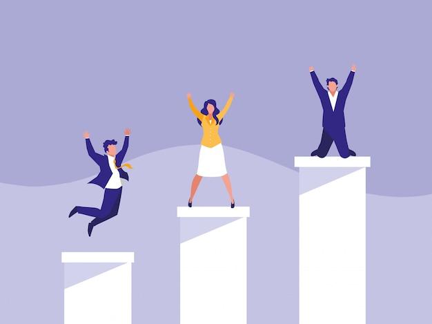 Succesvolle zakenmensen vieren in trappen omhoog