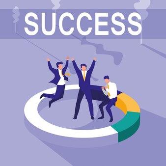 Succesvolle zakenmensen vieren met statistieken taart