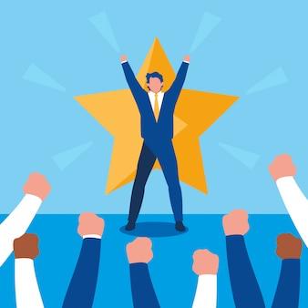 Succesvolle zakenmensen vieren met ster
