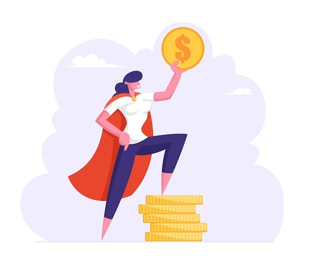 Succesvolle zakenvrouw in superheld mantel houden gouden dollartribune op stapel goud