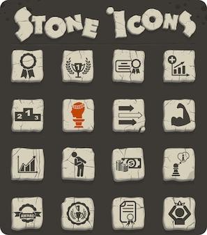Succeswebpictogrammen op stenen blokken in de stijl van het stenen tijdperk voor gebruikersinterfaceontwerp