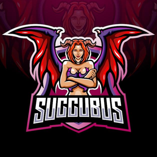 Succubus mascotte esport logo ontwerp