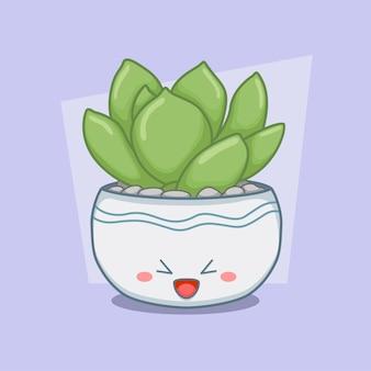 Succulent in een schattige ronde pot
