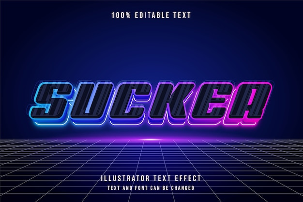 Sucker, 3d bewerkbaar teksteffect blauw paars roze neon futuristische stijl