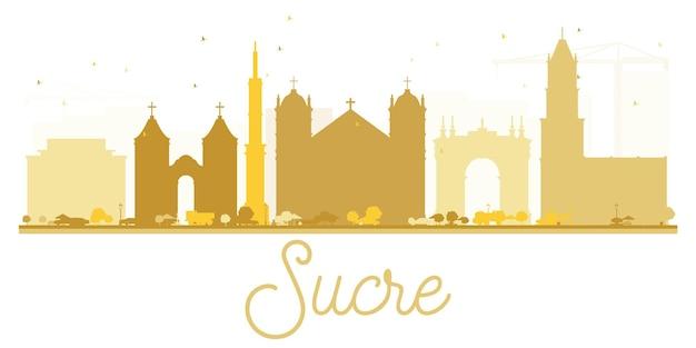 Sucre city skyline gouden silhouet. vector illustratie. eenvoudig plat concept voor toeristische presentatie, banner, plakkaat of website. zakelijk reisconcept. stadsgezicht met bezienswaardigheden.