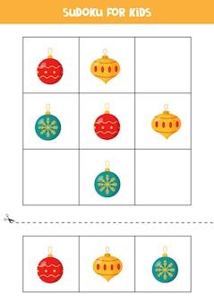 Sudoku met drie afbeeldingen voor kleuters. logisch spel met kerstballen.