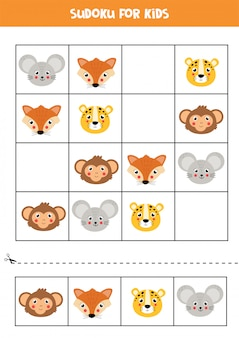 Sudoku met schattige en vrolijke dierengezichten.