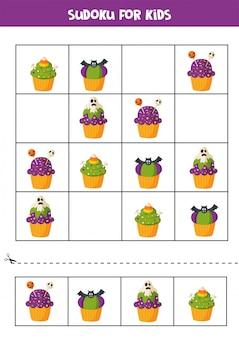 Sudoku-puzzelspel met griezelige halloween-cupcakes.