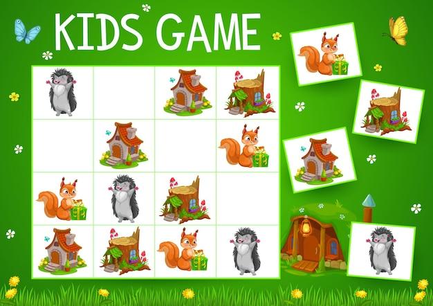 Sudoku-spel met cartoon sprookjesachtige huizen, dieren