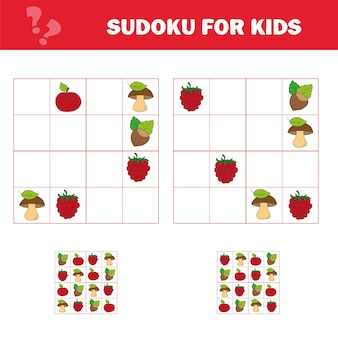 Sudoku-spel voor kinderen met afbeeldingen. activiteitenblad voor kinderen. cartoon-stijl. puzzelspel voor kinderen en peuters. logisch denken opleiding.