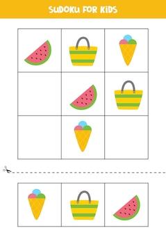Sudoku-spel voor kinderen met cartoon zomerelementen.