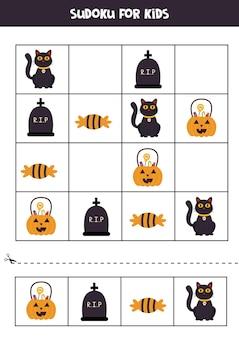 Sudoku-spel voor kinderen met halloween-afbeeldingen.