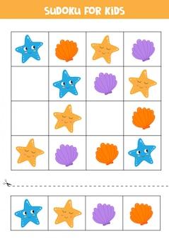 Sudoku-spel voor kleuters. zeeschelp en zeesterren.
