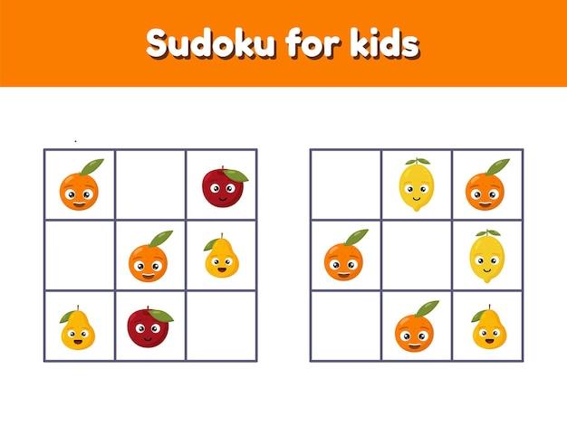 Sudoku voor kinderen met afbeeldingen. logische rebus voor kleuters en schoolkinderen. educatief spel.