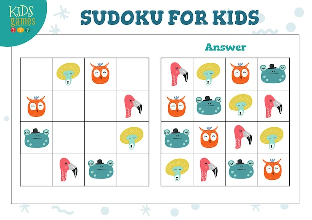 Sudoku voor kinderen met antwoordillustratie.