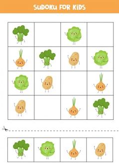 Sudoku voor kinderen met schattige kawaiigroenten.