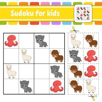 Sudoku voor kinderen. onderwijs ontwikkelt werkblad. activiteitenpagina met afbeeldingen.