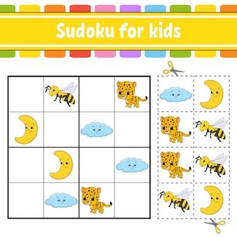 Sudoku voor kinderen. onderwijs ontwikkelt werkblad.