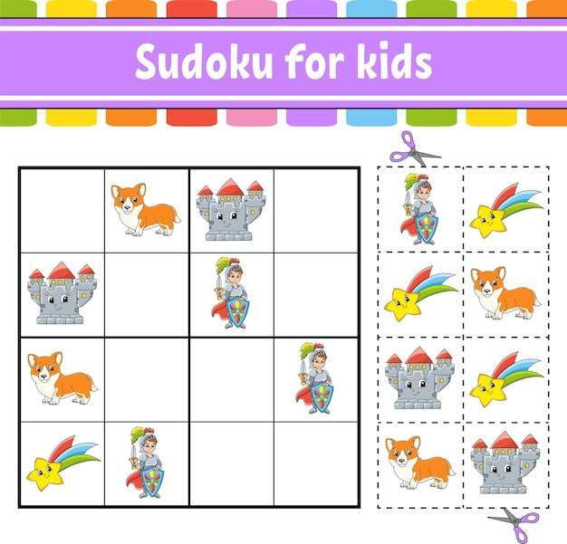 Sudoku voor kinderen sprookjesthema onderwijs ontwikkelen werkblad activiteitenpagina met foto's