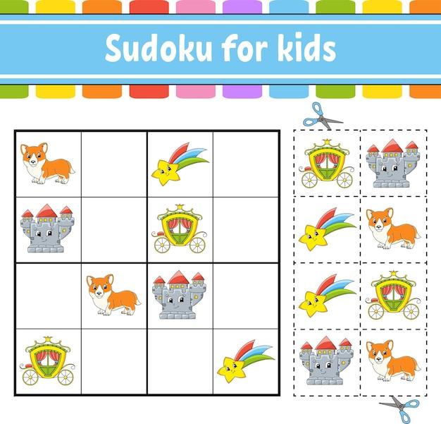 Sudoku voor kinderen sprookjesthema werkblad voor onderwijsontwikkeling
