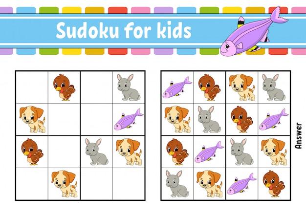 Sudoku voor kinderen. werkblad voor het ontwikkelen van onderwijs. activiteitenpagina met afbeeldingen.