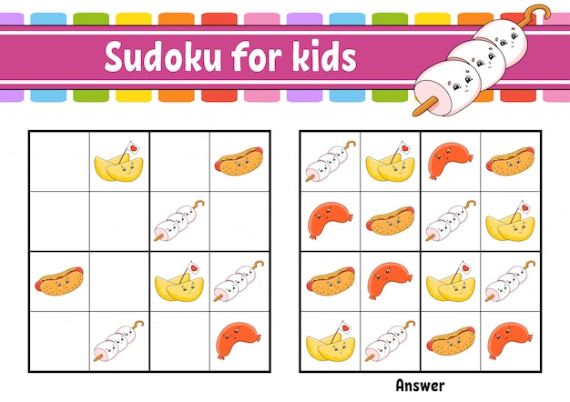Sudoku voor kinderen. werkblad voor het ontwikkelen van onderwijs. stripfiguur.