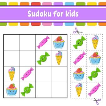 Sudoku voor kinderen werkblad voor het ontwikkelen van onderwijs