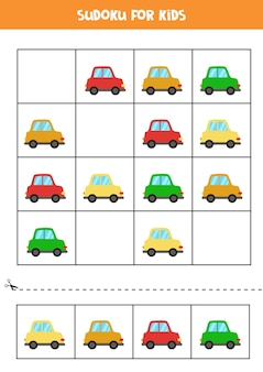 Sudoku voor kleuters. logisch spel met kleurrijke cartoonauto's.